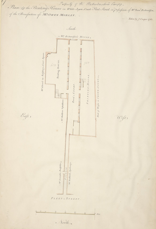 Property of the Haberdashers' Company - Plan OF the Printing Houses in White-Lyon-Court Fleet Street in Possession of Mr Sam.l Richardson, of the Benefaction of MR OWEN MORGAN